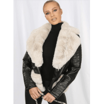 Black PU Leather Coat With Cream Faux Fur Hem Collar Buckle Belt