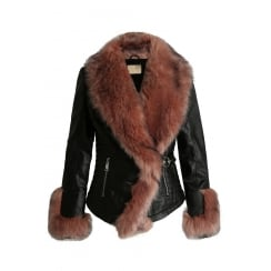 Black PU Leather Dusky Pink Faux Fur Trim And Cuff Cross Over Front Jacket