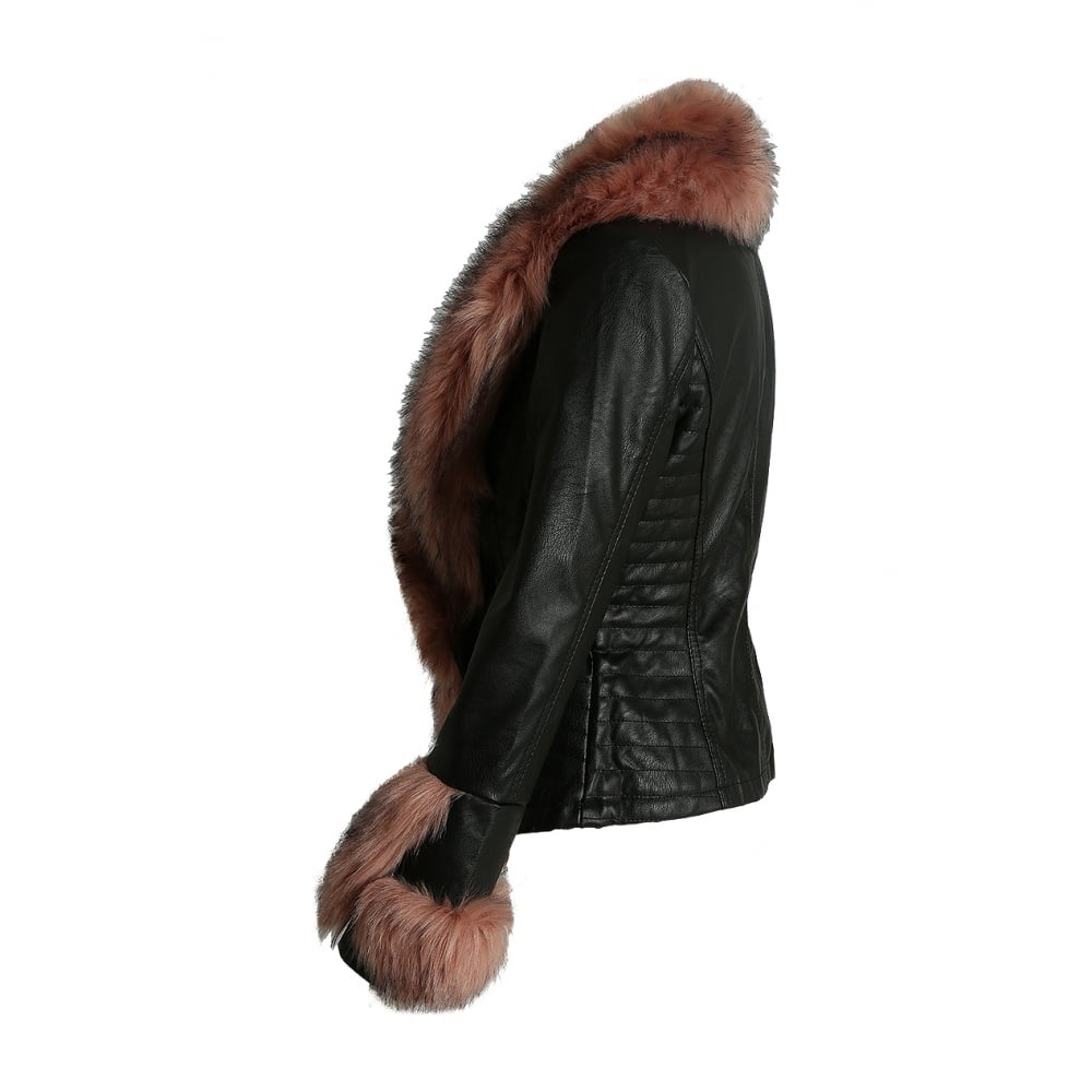 Fake Fur Trimmed On Cuffs Of Sweaters: Black PU Leather Dusky Pink Faux Fur Trim Cuff Cross Over
