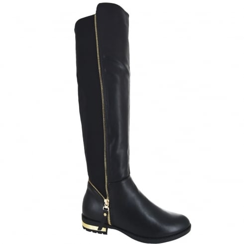 Black PU Leather Elasticated Back Zip Detail Knee High Flat Boots
