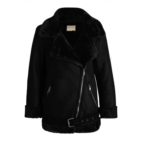 Black PU Leather Faux Fur Lined Collared Coat