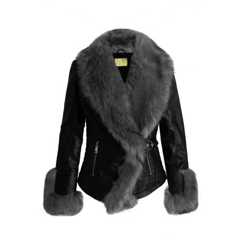 Black PU Leather Grey Faux Fur Trim And Cuff Cross Over Front Jacket