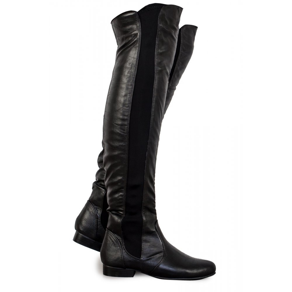 black pu leather the knee boots from parisia