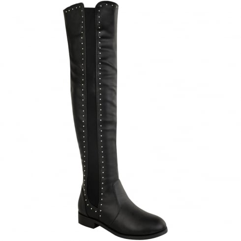 Black PU Leather Over The Knee Studded Boots