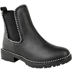 Black PU Leather Studded Chunky Cleated Sole Chelsea Ankle Boots