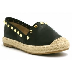 Black PU Leather Woven Look Sole Gold Studded Casual Shoes
