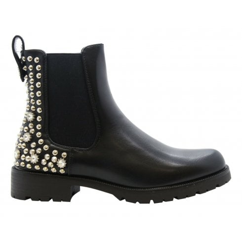 Black PU Silver Back Studded And Spiked Cleated Sole Chelsea Ankle Boots