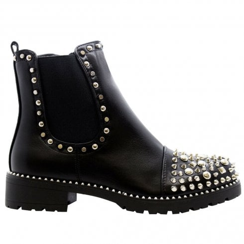 Black PU Silver Spiked And Studded Side Zip Cleated Sole Chelsea Ankle Boots