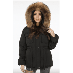 Black Real Racoon Fur Hood Tie Belt Waist Coat
