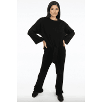 Black Ribbed Knit Tie Front Jumper & Trouser Set