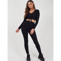 Black Ribbed Ruched Lace Tie Crop Top And High Waist Legging Tracksuit Set