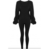 Black Ruched Sleeve Knitted Loungewear Set