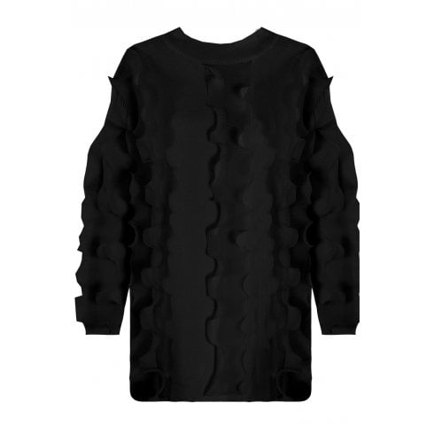 Black Ruffle Trim Long Sleeve Fitted Cuff Knitted Jumper