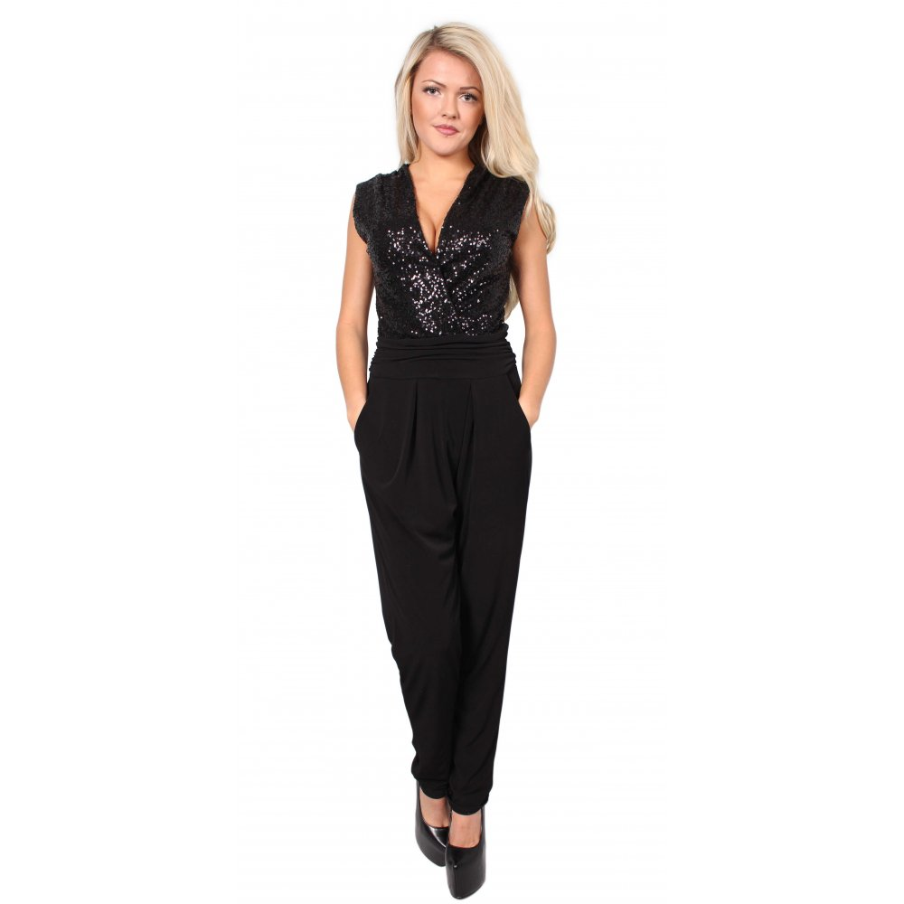 Black Sequin Jumpsuit From Parisia