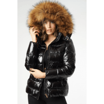 Black Shiny Faux Fur Hood Bomber Puffer Coat