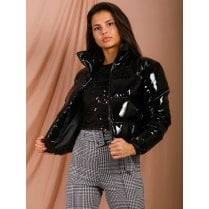 Black Shiny Patent Over Puffed Zip Up Short Jacket