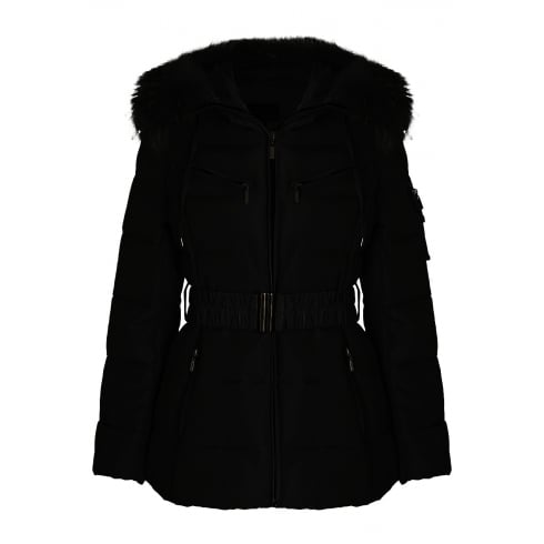 Black Short Padded Coat with Matching Racoon Fur Hood