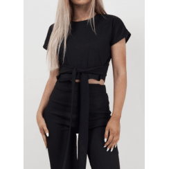 Black Short Sleeve Crop Top Waist Belt And Wide Leg Trousers Ribbed 2PC Loungesuit Set