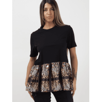 Black Short Sleeve Frill Skater Pattern Print Hem Top