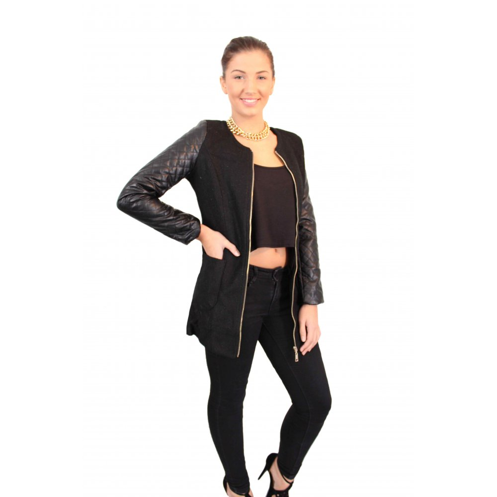 Black Sparkly Wool Coat With Leather Quilted Sleeve's From Parisia