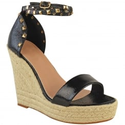 Black Studded Ankle Strap Woven Look Wedges