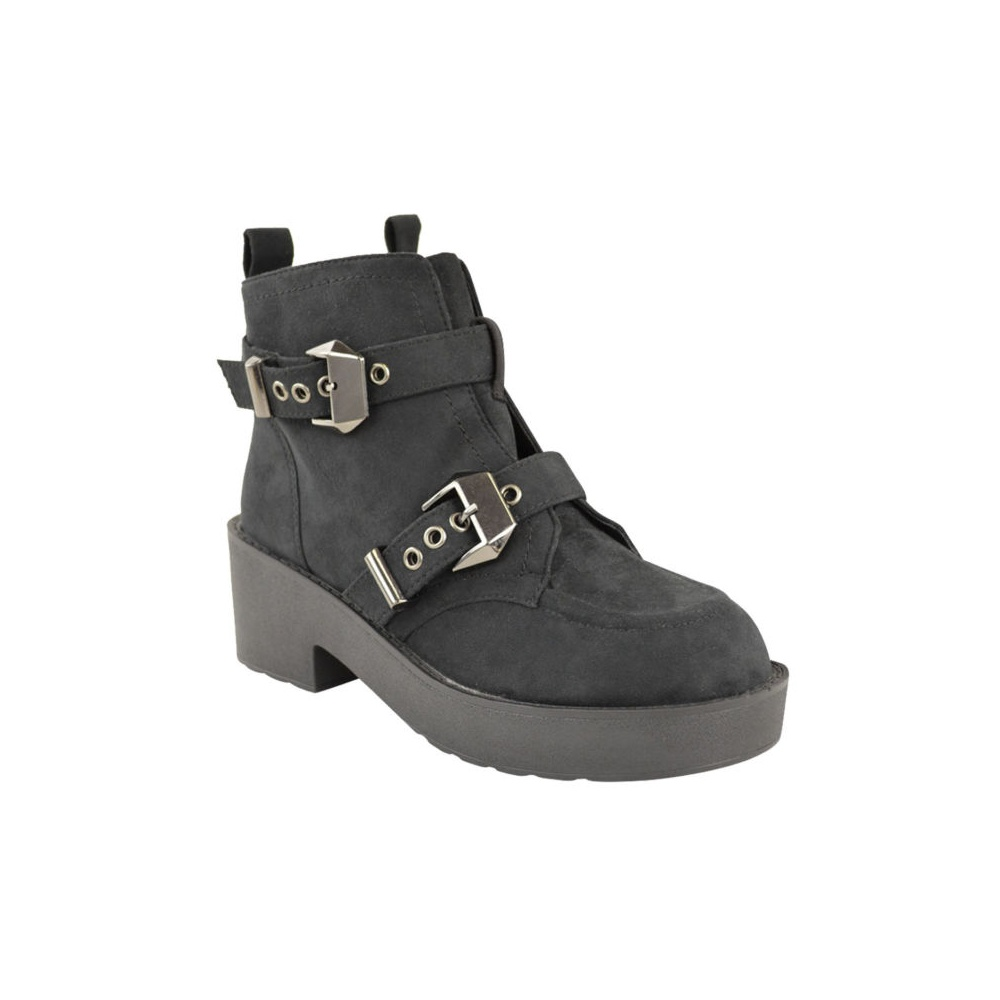 black suede buckle flat ankle boots parisia fashion