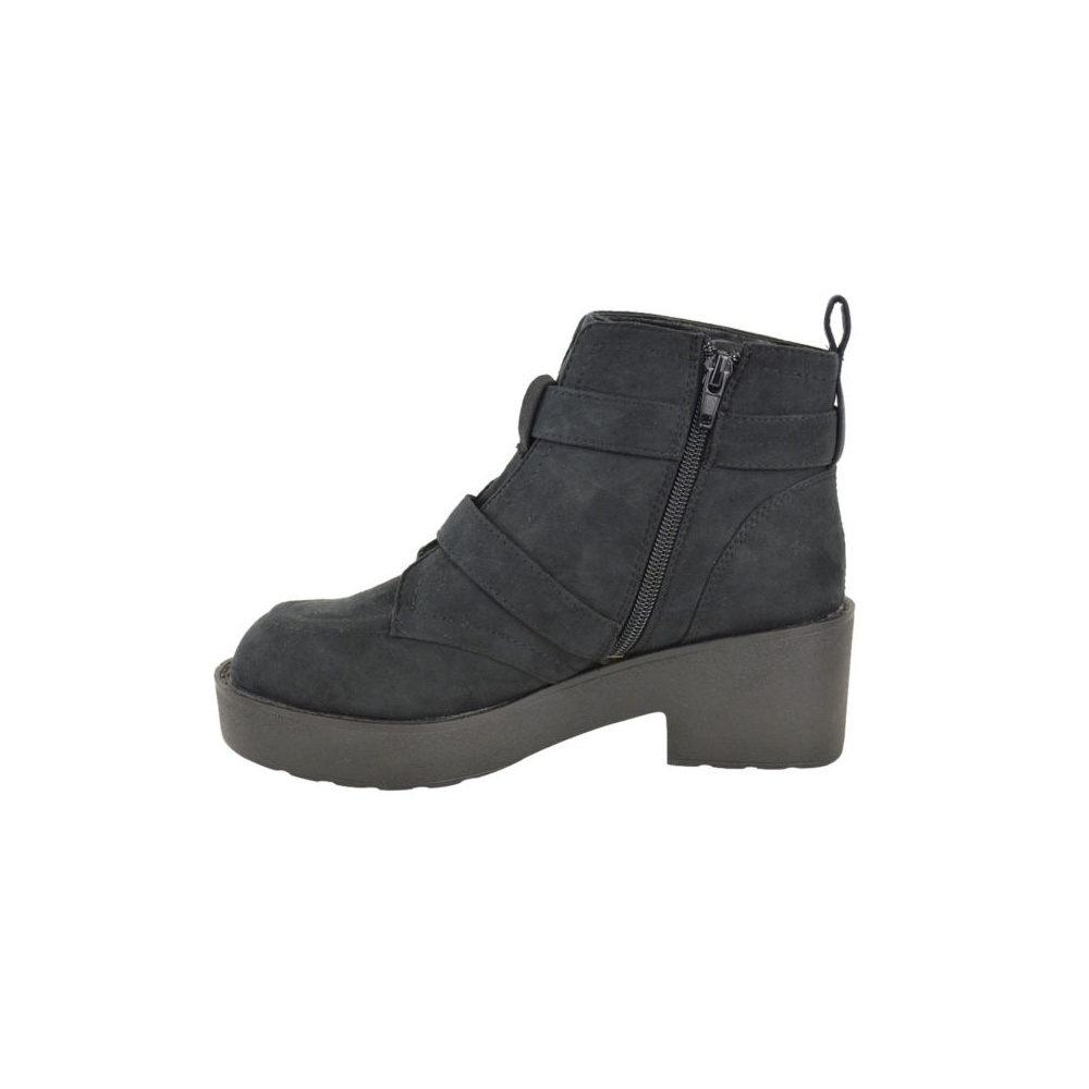 black suede dark buckle flat ankle boots parisia fashion