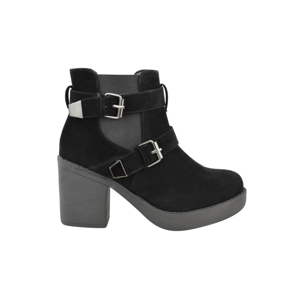 black suede buckle ankle boots parisia fashion