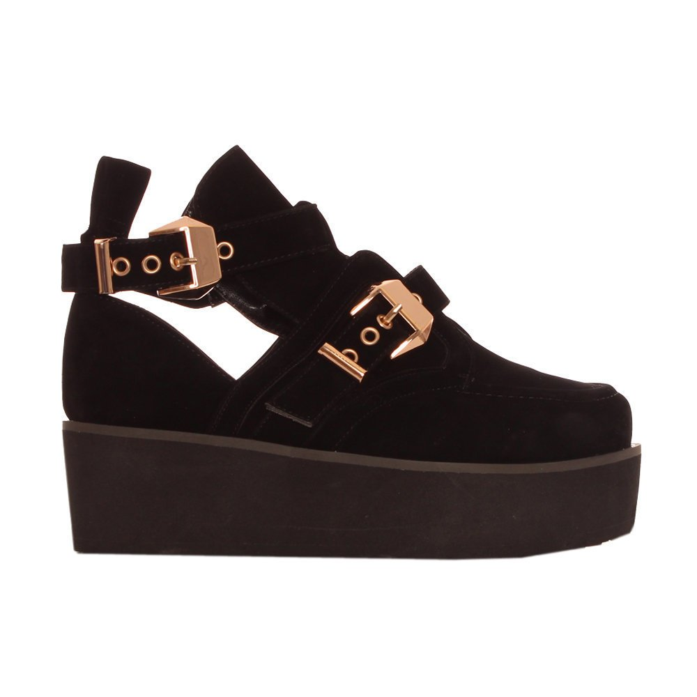 black suede flatform cut out ankle boots with gold buckles