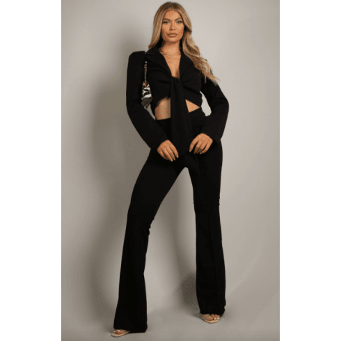 Black Tailored Front Knotted Blazer & Fitted Flared Trouser Set
