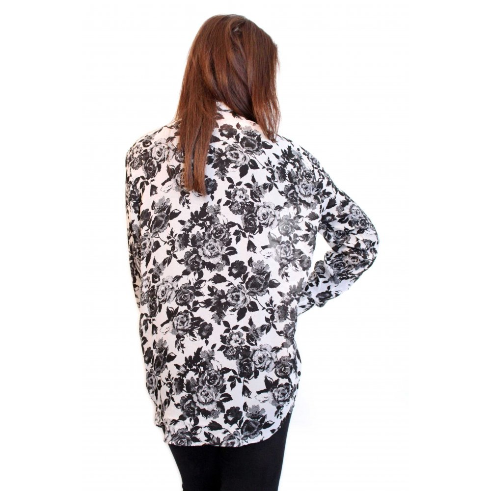 Black & White Floral Print Chiffon Blouse From Parisia