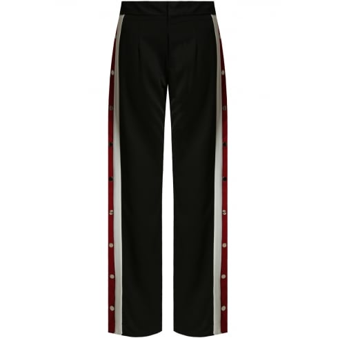 Black Wide Leg Side Popper with Red and White Panel Stripe Trousers