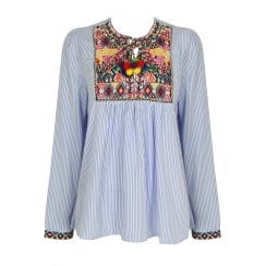 Blue And White Pin Stripe Multi Coloured Patterned Pom Pom Tie Blouse