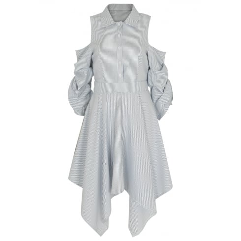 Blue And White Pin Striped Cut Out Shoulder Shirt Dress