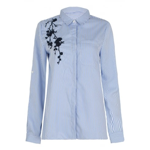 Blue And White Pin Striped Floral Embroided Shirt