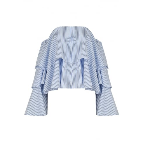 Blue And White Pin Striped Layered Top