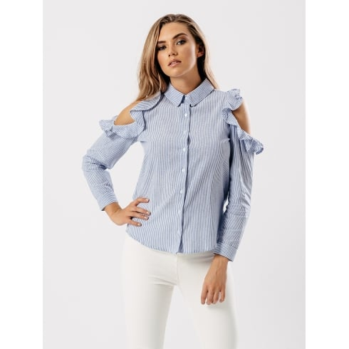 Blue And White Pin Striped Open Shoulder Ruffle Shirt