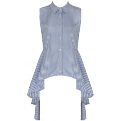 Blue And White Pin Striped Sleeveless Asymmetric Shirt