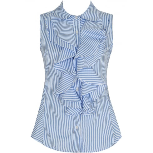 Blue And White Pin Striped Sleeveless Front Ruffle Shirt