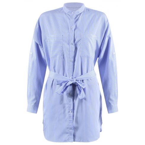 Blue And White Striped Belt Tie Waist Long Sleeve Collared Shirt