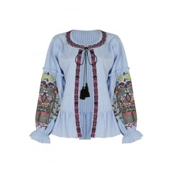 Blue And White Striped Embroidered Long Sleeve Front Tie Knot Top