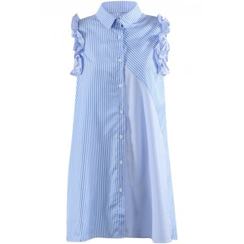 Blue And White Striped Long Sleeveless Ruffle Trim Shift Shirt Dress