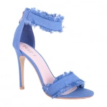 Blue Denim Frayed Ankle Strap 'Barely There' High Heels