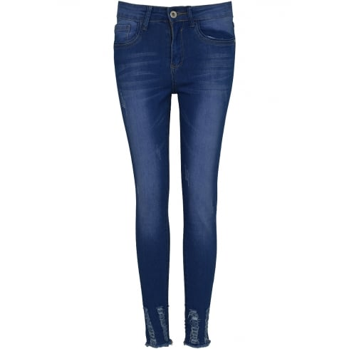 Blue Denim High Waist Frayed Hem Skinny Jeans