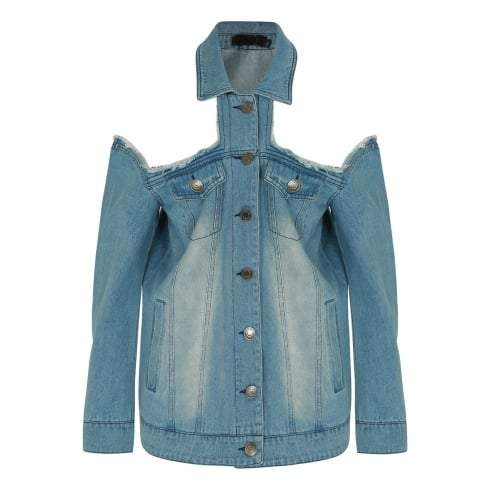 Blue Denim Open Shoulder Jacket