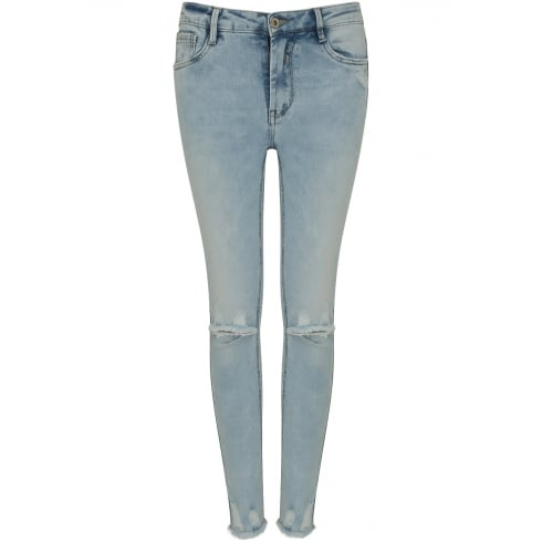 Blue Denim Ripped Knee Frayed Bottom Skinny Jeans