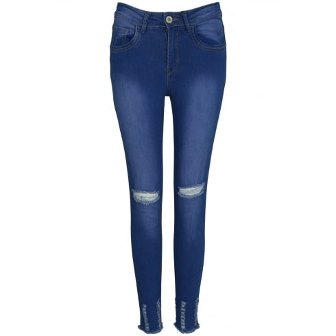 Blue Denim Ripped Knee Frayed Hem Skinny Jeans