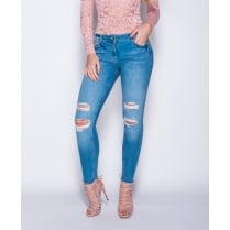Blue Distressed Frayed Hem Double Slit Denim Jeans