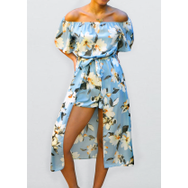 Blue Floral Off Shoulder Playsuit Maxi Dress Look Jumpsuit