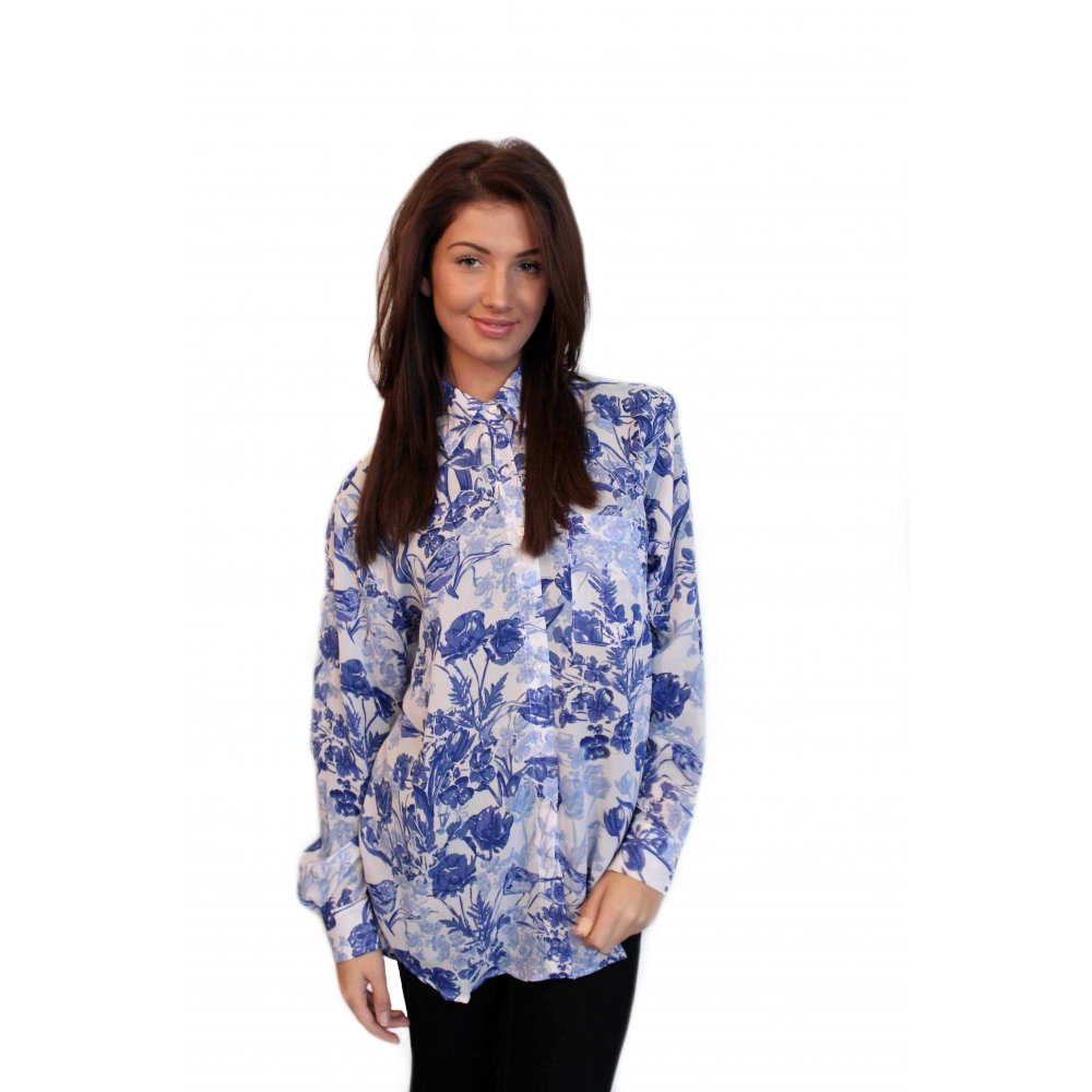 blue floral print chiffon blouse from parisia